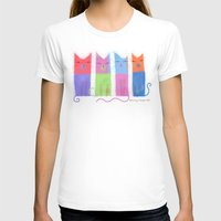 RAINBOW CATS Womens Fitted Tee White SMALL