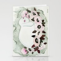 White Rabbit, Pink Poppies Stationery Cards