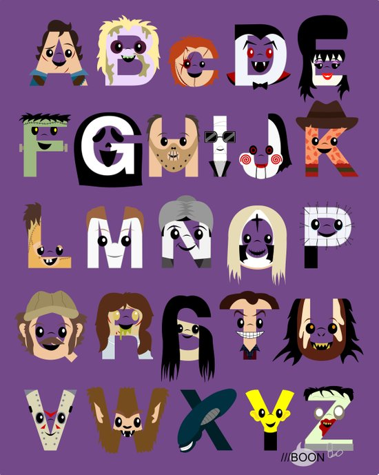 Horror Icon Alphabet Art Print