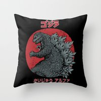 Gojira Kaiju Alpha Throw Pillow
