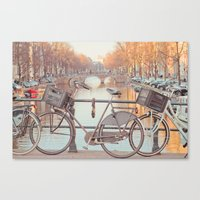 Canal Bicycles Canvas Print
