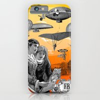 iPhone Cases featuring air, show, spectators, aircraft, zeppelin, air balloon, flight, flyer, collage, vintage, engraving, by Fancy Brand