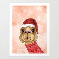 Alpaca Christmas Art Print