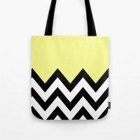 YELLOW COLORBLOCK CHEVRO… Tote Bag