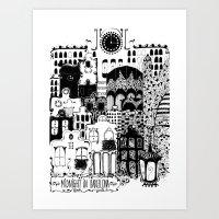 Midnight In Barcelona B&… Art Print