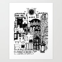 Midnight in Barcelona b&w Art Print