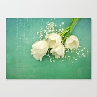 French White Tulips And … Canvas Print