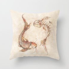Yin Yang Fish Throw Pillow