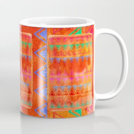 Abstract Bunting Watercolor Painting in Hot Pink, Orange, Mint & Blue Mug