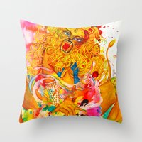 Leo: The Proud Lion (July 23 - August 22) / Gouache Original A4 Horoscope Illustration / Painting Throw Pillow