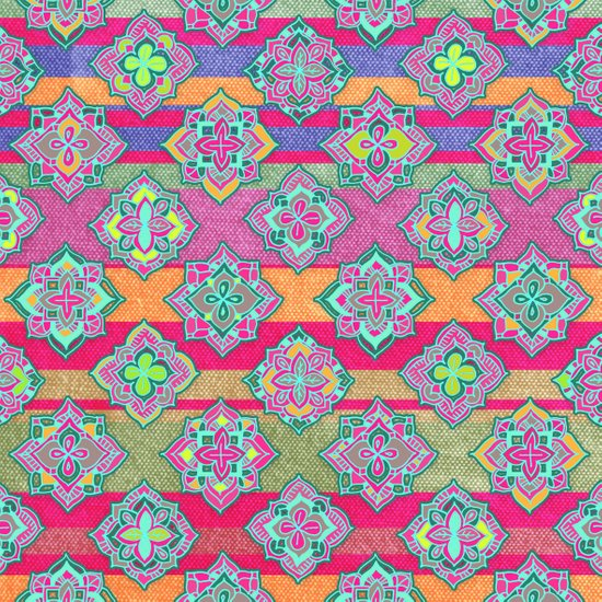 Color Pop Doodle Pattern in Peach, Pink, Purple & Emerald Green Art Print