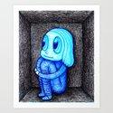 Blue girl in box. Art Print
