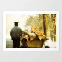 Farmer And Wood Cart In … Art Print