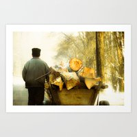 Farmer And Wood Cart In … Art Print
