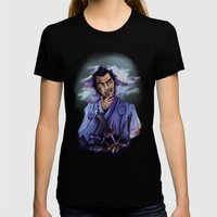 Toshiro Mifune digital painting. Womens Fitted Tee Black SMALL