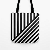 Black and White Diagonal Stripes Tote Bag