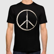 Peace in peach SMALL Mens Fitted Tee Black