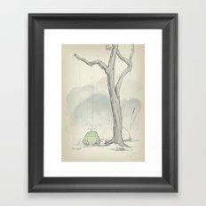 The frog under the rain Framed Art Print