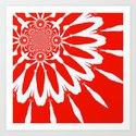 Red Modern Flower Art Print