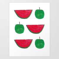 Watermelon & Apple Art Print