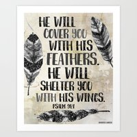 He Will Cover You With His Feathers. Black White & Taupe Edition  Art Print