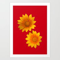 Two Yellow Flowers On Fu… Art Print