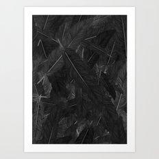 Feathered (Black). Art Print