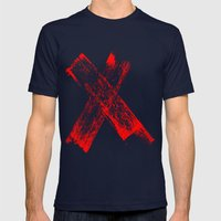 Red X Mens Fitted Tee Navy SMALL