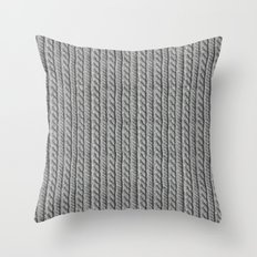 Grey Knit feeling Throw Pillow