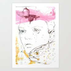 She speaks in bubbles Art Print