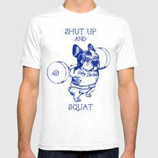 Frenchie Squat White Mens Fitted Tee SMALL