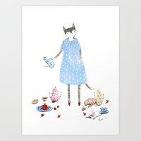 Tea Party Cat in a Karen Walker Dress Art Print