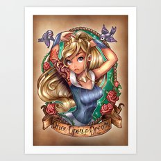 Once Upon A Dream (blue dress) Art Print