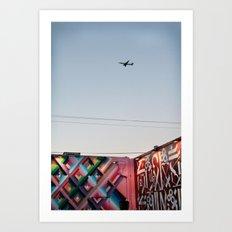 Plane in night sky Art Print