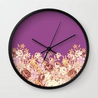 floral decor on purplish pink Wall Clock