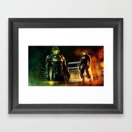 Green Robots Framed Art Print