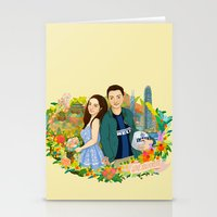 Custom illustration for a couple Stationery Cards