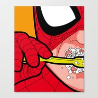 The secret life of heroes - SpiderBrush Canvas Print