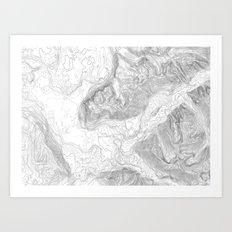 Twin Peaks Film Location Contour Map - Light Art Print