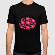 Hibiscus   Black SMALL Mens Fitted Tee