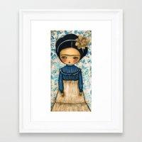 Frida In A Blue And Cream Dress Framed Art Print