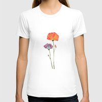 Flowers Womens Fitted Tee White SMALL
