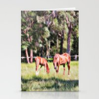 Horse And Foal Feeding I… Stationery Cards