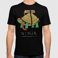 Ninja - Orange Mens Fitted Tee Black SMALL