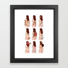 Girl & Pizza Framed Art Print