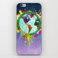 World Map of Splattered Paint iPhone & iPod Skin