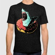 Donut Shark! Mens Fitted Tee Tri-Black SMALL