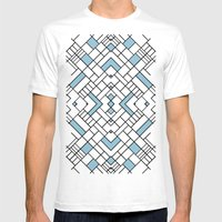 PS Grid 45 Sky Blue Mens Fitted Tee White SMALL