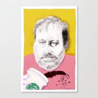 """Žižek just spilled Starbucks coffee all over himself""  Canvas Print"