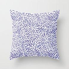 Vonnie - abstract minimal indigo blue dalmatian dots brushstrokes animal print monochromatic print Throw Pillow